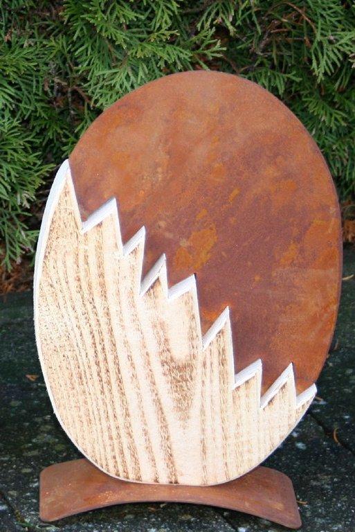 Edelrost holz kombination ei ostern dekoration garten for Holz dekoration im garten
