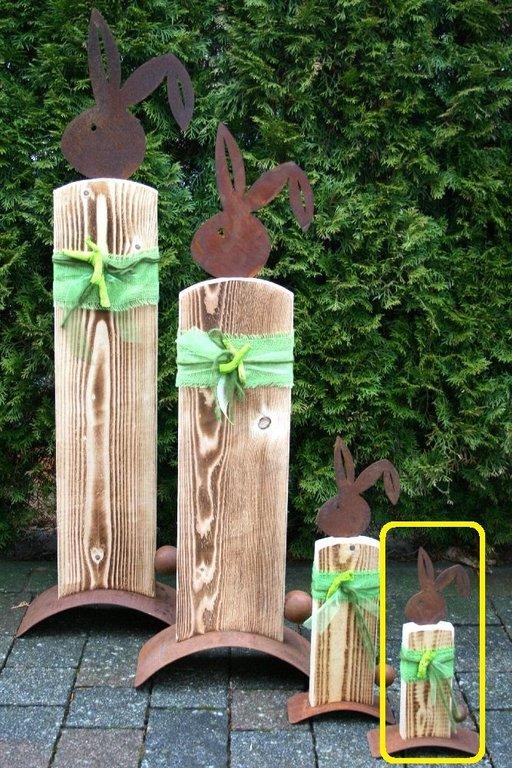 Hase Konrad Edelrost Fichtenholz Ostern Dekoration Garten Wohndeko