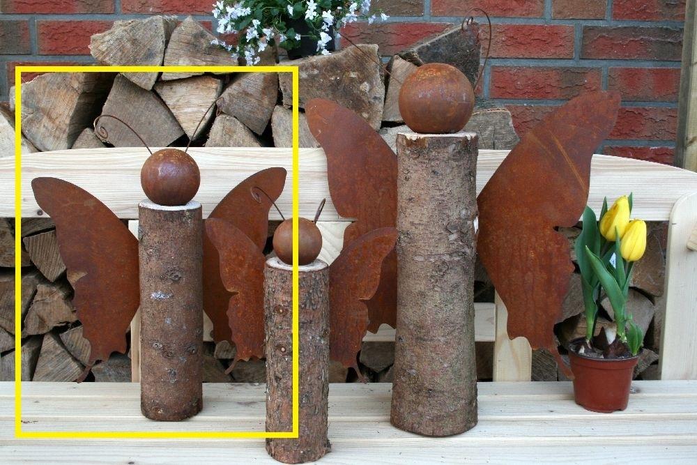 Schmetterling Auf Baumstamm Edelrost Holz Dekoration
