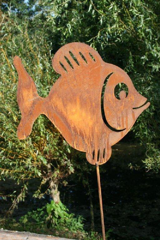 Gartenstecker fisch edelrost manuscrapt for Gartenstecker edelrost