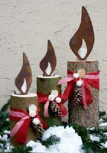 Flamme edelrost zum einschlagen garten dekoration kerze for Edelrost figuren